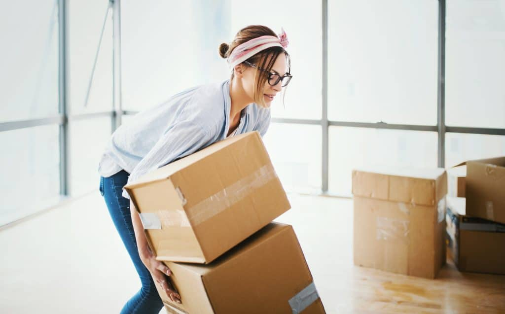 Stressed Woman Moving
